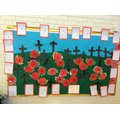 Our Remembrance Day display with prayers, poppies and crosses