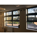 Windows from new meeting room, now with painted walls