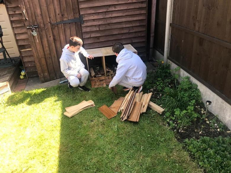 Isaac and Noah build a luxury bug hotel