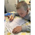 Douglas working on his spellings