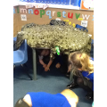 We have had great fun den making today!