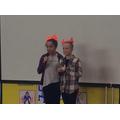 Y6 singers - Emelia and Izzy.