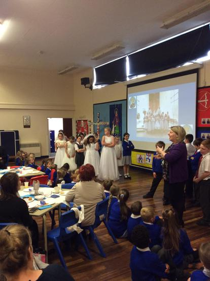 Performing our poem 'Please Mrs Butler'.
