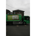The recycling vehicle visits the school.