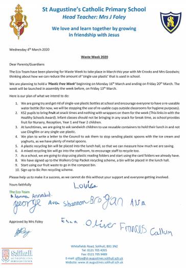 Waste Week Letter