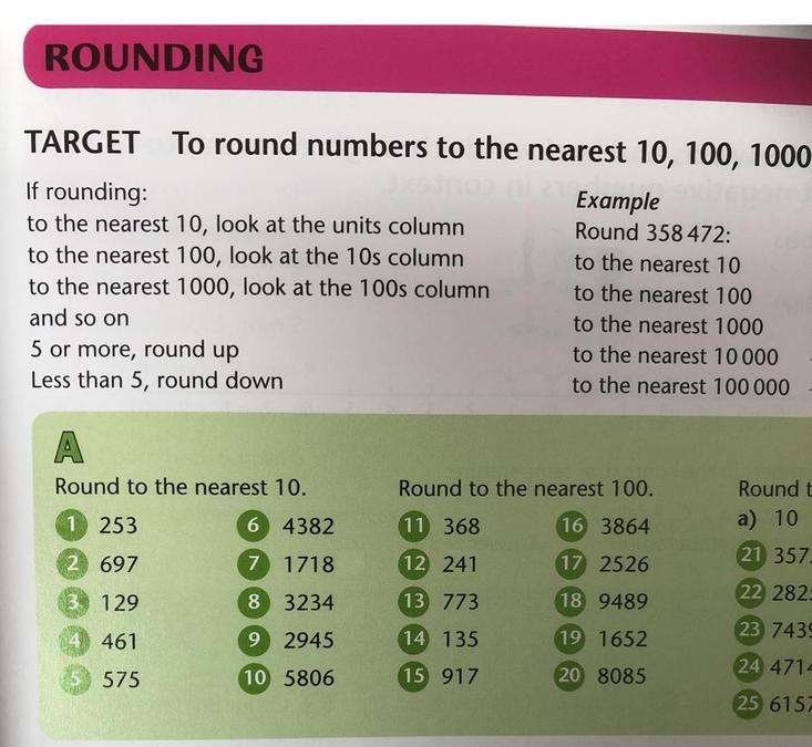 In maths we are learning rounding. Try the first 20 of these and see how you get on :)