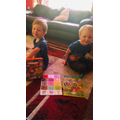 Ethan and Kodie enjoy their new puzzles.