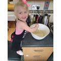 Megan is baking.