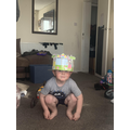Ellis made an Easter hat.