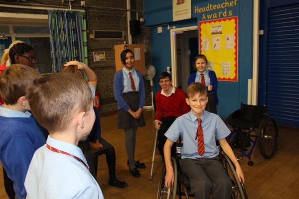 Kian directing the wheelchair