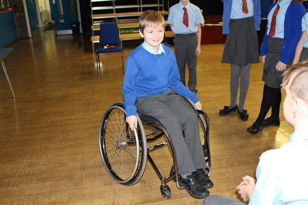 Jamie directing the wheelchair