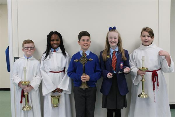Head Boy and Head Girl with the Altar Servers