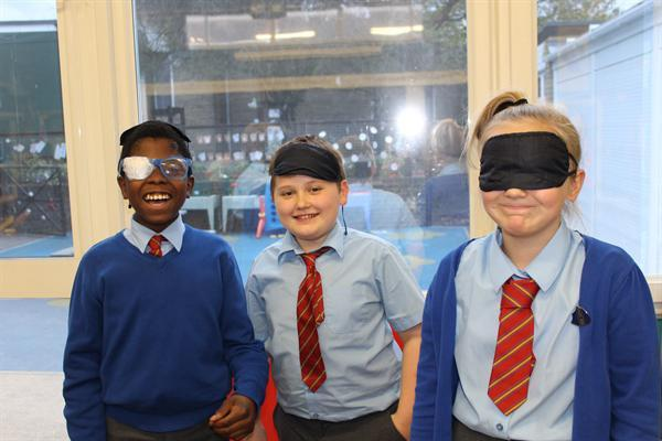 Using blindfolds and glasses (