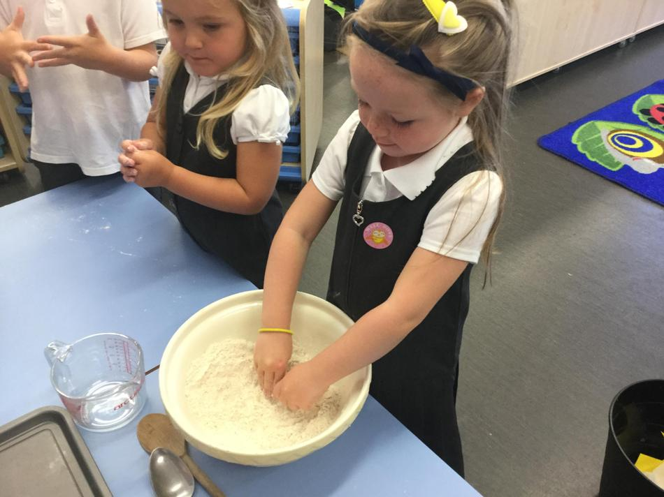 We rubbed the butter and flour together.