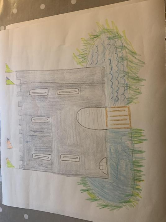 Oliver's wonderful drawing of a castle.