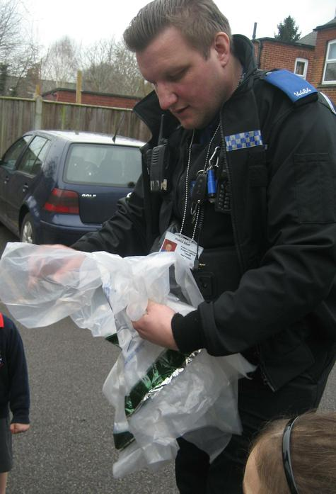 Evidence bags from the boot