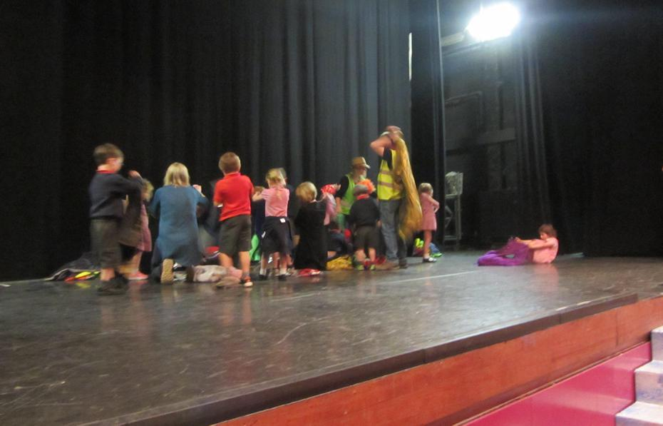 Rehearsing for our show to parents and carers