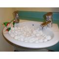 Elfie enjoying a bubble bath!