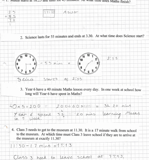 Zuzanna's maths word problems on time 2