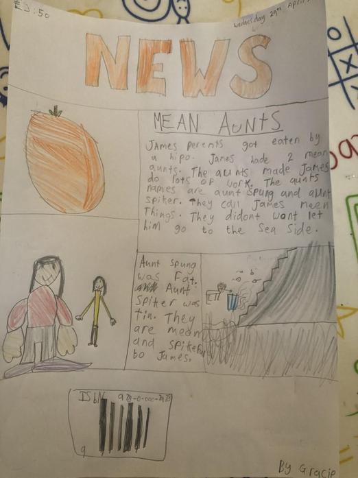 James and Giant Peach newspaper report Gracie