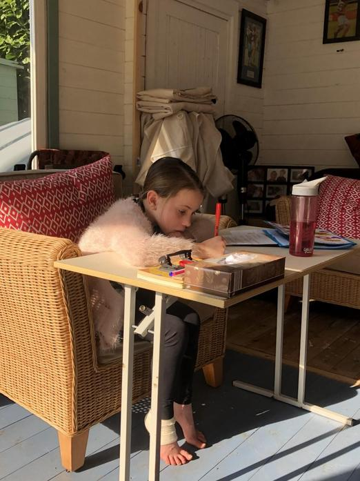 Lola working in the Summer house