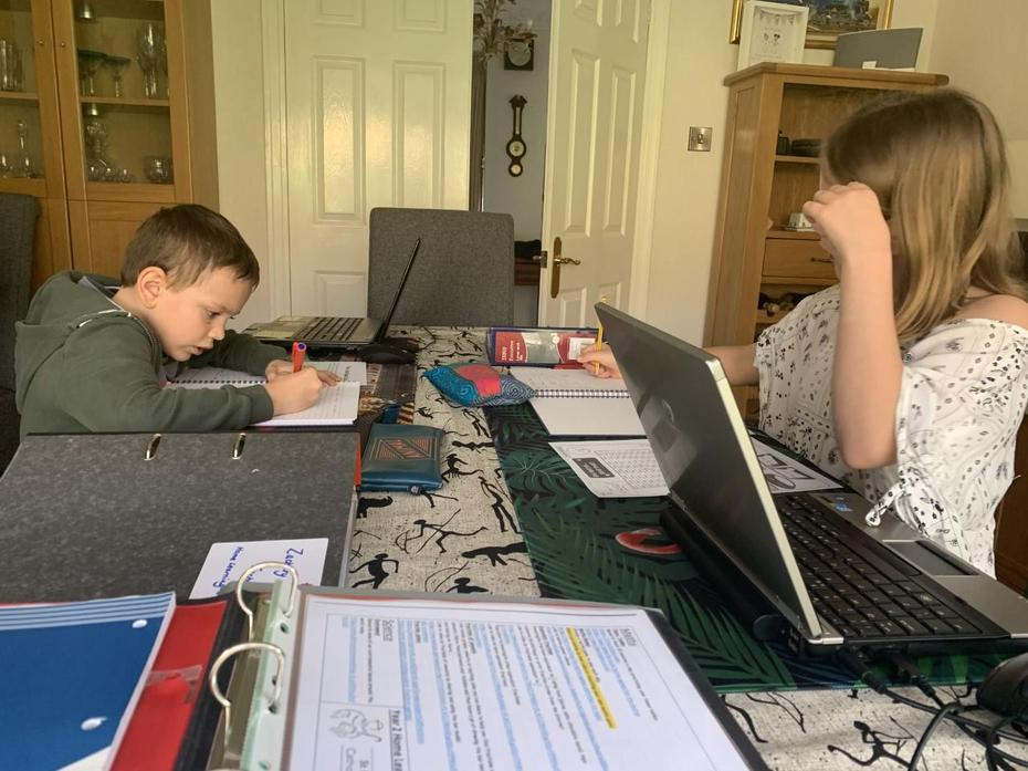 Zach (yr2) and Grace working hard