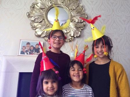 Neve and her sisters Easter Bonnets!