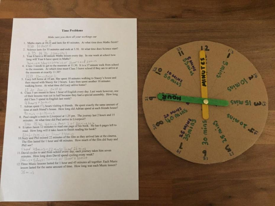 Neve's clock she made and time problems- well done