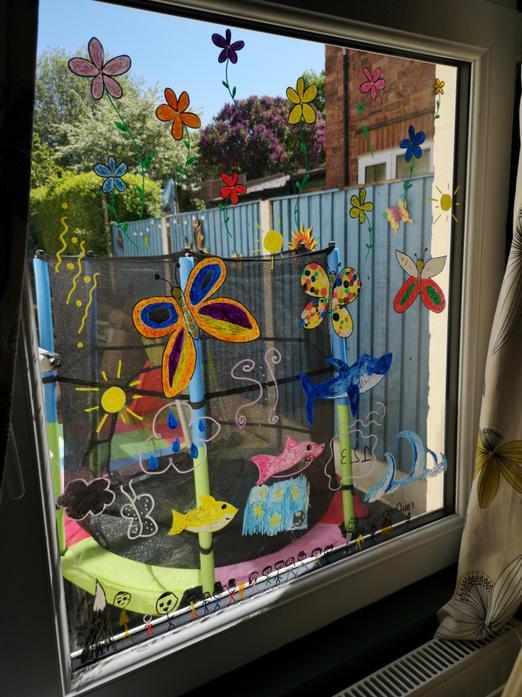 Frances created this beautiful window art work