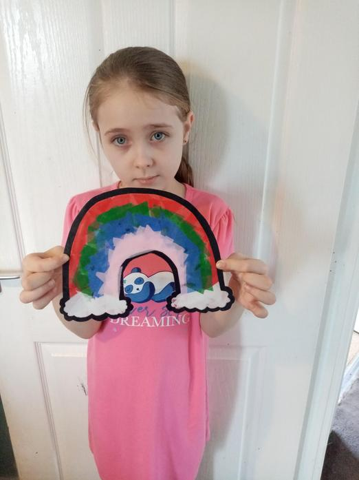 Sienna's rainbow stained glass art