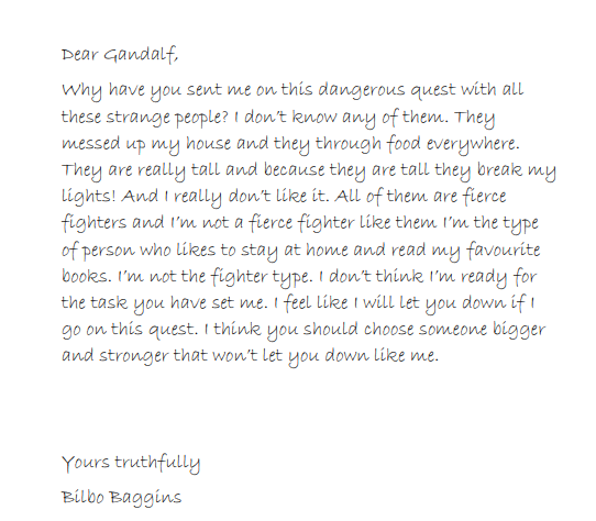 Letter to Gandalf by Tristan.