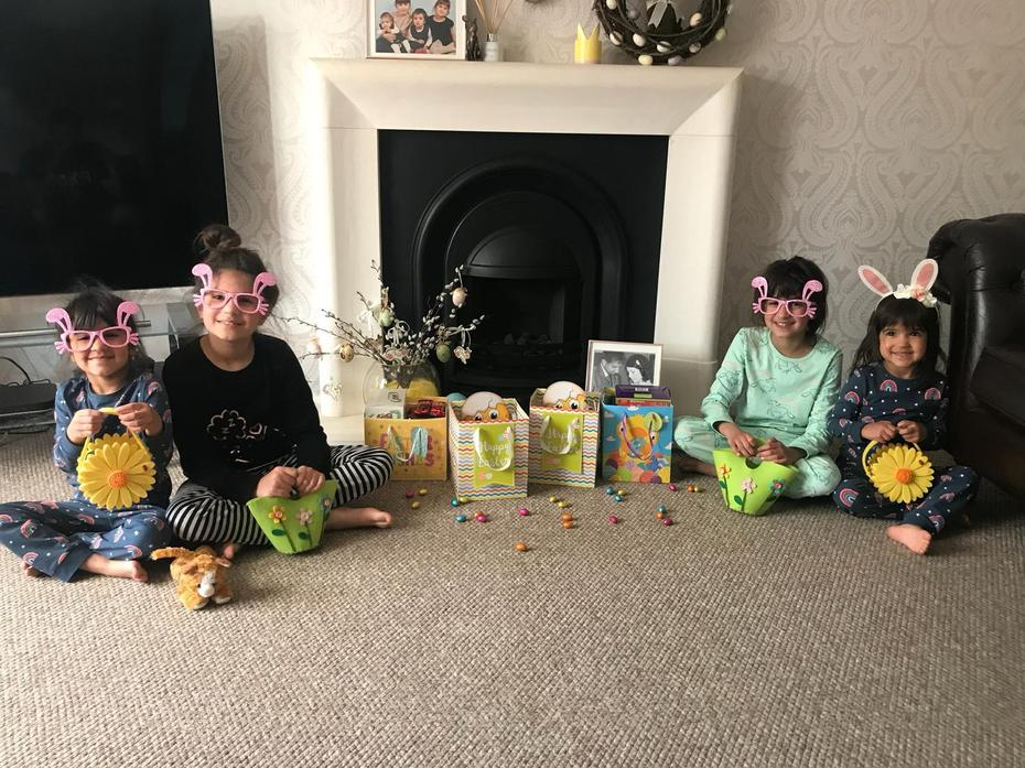 Neve and her sister's on Easter Sunday