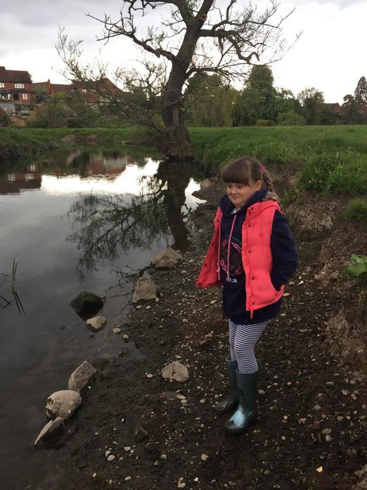 Aleksandra searching for wild life