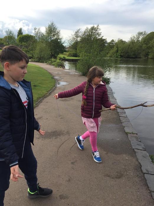 Aleksandra and Arthur creating fishing line