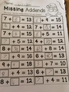 William's maths work