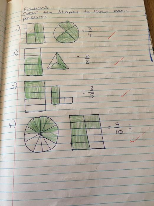 Oliver's and William's work on fractions
