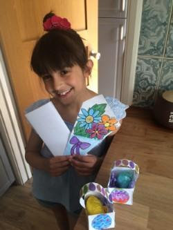 Neve wrote a letter & made gifts for her neighbour