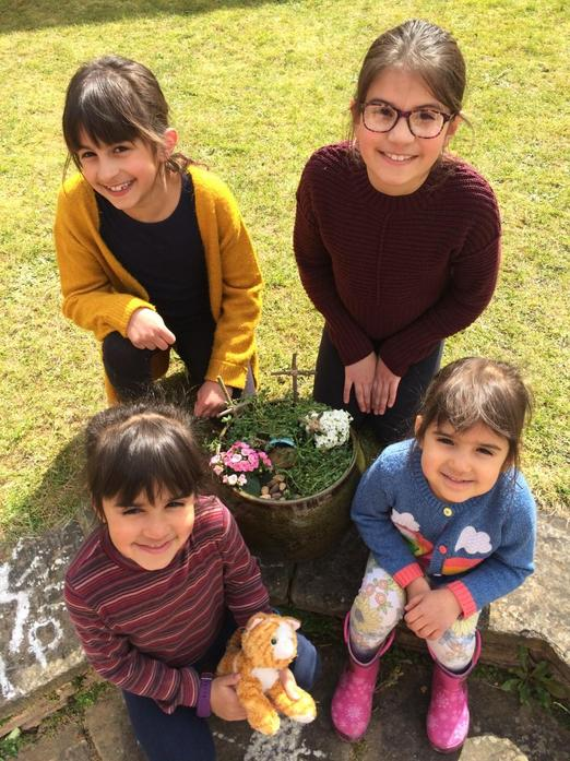 The Singh family created their own Easter garden