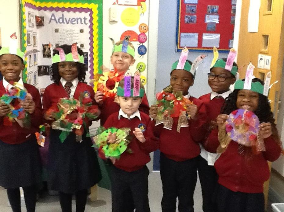 Dolphin class made advent wreaths today