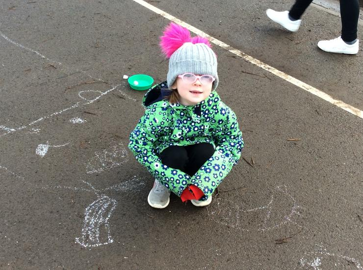 A brilliant chalk polar bear cub