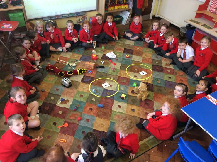 We sorted real objects into 's' or 't' sets