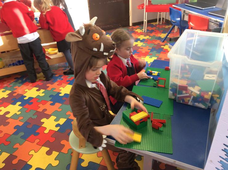 Making castles using Lego.
