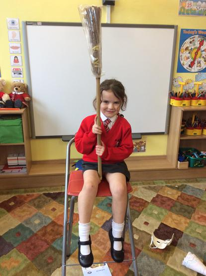 Cora told us all about her witch's broomstick