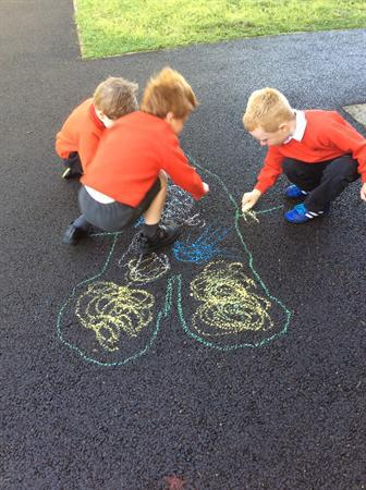 Drawing and labeling our bodies with chalk
