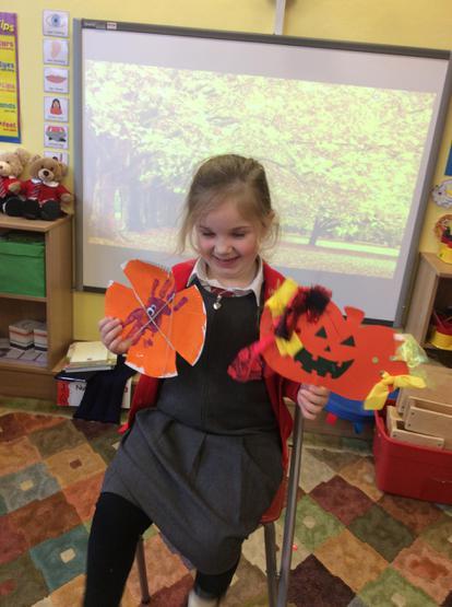 Brigid showed us her Halloween crafts