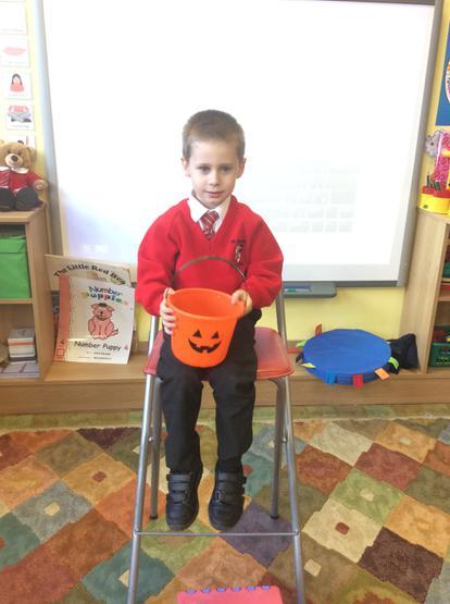 Luke told us about his pumpkin bucket