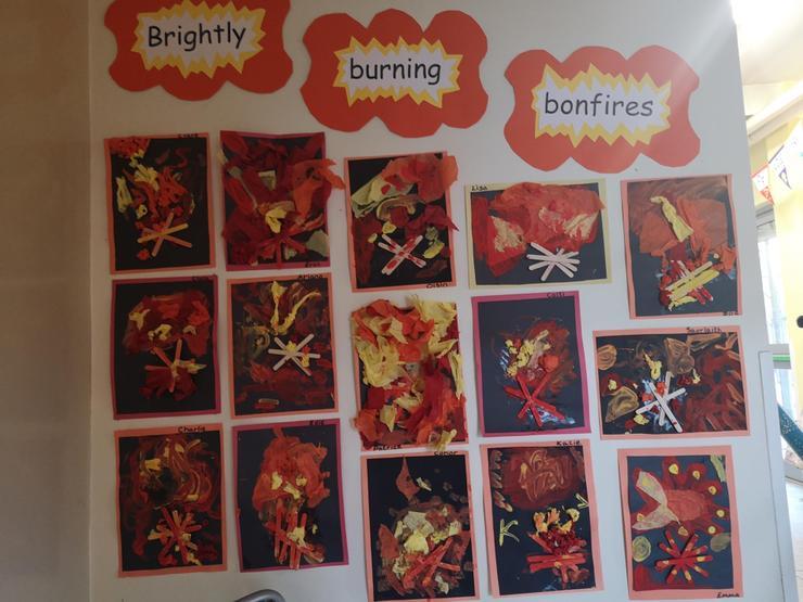 Mixed media bonfire collages