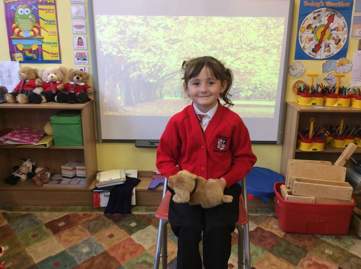Amelia told us about her dog who plays with leaves