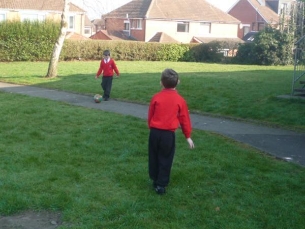 Fun as we play football.