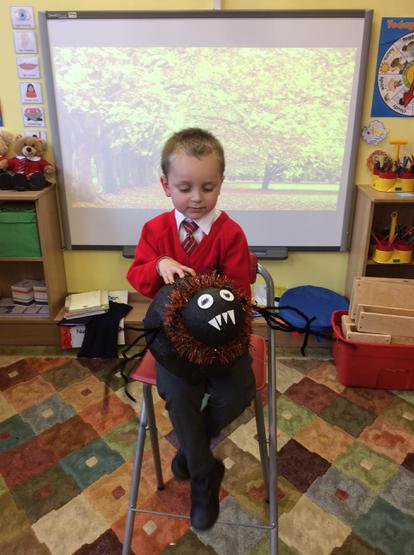 Cillian made a fantastic papier mache spider